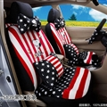 16pcs Snoopy Stripe Stars Car Seat Covers Interior Sets Accessories Plush Universal - Black Red