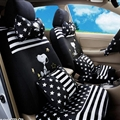 16pcs Snoopy Stripe Stars Car Seat Covers Interior Sets Accessories Plush Universal - Black White