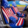 16pcs Snoopy Stripe Stars Car Seat Covers Interior Sets Accessories Plush Universal - Blue Red