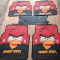 Angry Birds Universal Automotive Carpet Car Floor Mats Latex 5pcs Sets - Red Black