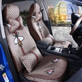 Beautiful Flax Fashion Gucci Bee Car Seat Covers Universal Pads Seat Cushions 11pcs - Coffee