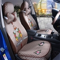 Beautiful Flax Fashion Gucci Flower Car Seat Covers Universal Pads Seat Cushions 8pcs - Coffee