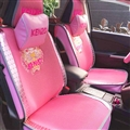 Beautiful Ice Silk Leather Rivets Kenzo Tiger Car Seat Covers Universal Pads Seat Cushions 9pcs - Pink