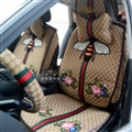 Beautiful Jacquard Flower Gucci Bee Car Seat Covers Universal Pads Seat Cushions 9pcs - Beige