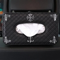 Chrome Hearts Alloy Leather Automotive Tissue Paper Box Holder Case Seat Back Hanging Tissue Bag - Black
