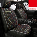Classic Leather LV Print Car Seat Covers Universal Pads Automobile Seat Cushions 6pcs - Black