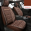 Classic Leather LV Print Car Seat Covers Universal Pads Automobile Seat Cushions 6pcs - Coffee