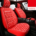 Classic Leather LV Print Car Seat Covers Universal Pads Automobile Seat Cushions 6pcs - Red