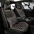 Classic Leather LV Print Car Seat Covers Universal Pads Automobile Seat Cushions Pillows 10pcs - Black