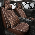 Classic Leather LV Print Car Seat Covers Universal Pads Automobile Seat Cushions Pillows 10pcs - Coffee