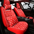 Classic Leather LV Print Car Seat Covers Universal Pads Automobile Seat Cushions Pillows 10pcs - Red