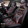 Classic Leather LV Print Car Seat Covers Universal Pads Automobile Seat Cushions Pillows 11pcs - Black Red