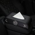 Cool Alloy Chrome Hearts Leather Car Tissue Paper Boxs Holder for Car Home - Black