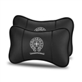 Cool Chrome Hearts 2pcs Genuine Leather Car Neck Pillows Support Headrest - Black