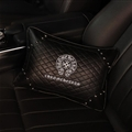 Cool Chrome Hearts Genuine Leather Alloy Rivet Car Back Cushion Waist Rectangle Pillow - Black