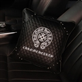 Cool Chrome Hearts Genuine Leather Alloy Rivet Car Back Seat Support Square Wasit Pillow - Black