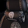 Cool Chrome Hearts Genuine Leather Alloy Rivet Car Neck Pillows Support Headrest - Black