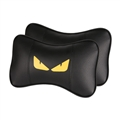 Cool Fendi 2pcs Genuine Leather Car Neck Pillows Support Headrest - Black