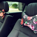 Cool GD Flower 2pcs Genuine Leather Car Neck Pillows Support Headrest - Black