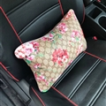 Cool GD Flower Genuine Leather Car Waist Pillows Support Back Cushion 2pcs - Beige
