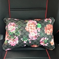 Cool GD Flower Genuine Leather Car Waist Pillows Support Back Cushion 2pcs - Black