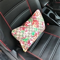 Cool GD Flower Genuine Leather Car Waist Pillows Support Back Cushion 2pcs - Grey