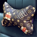 Cool LV Flower 2pcs Genuine Leather Car Neck Pillows Support Headrest - Coffee