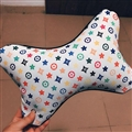 Cool LV Flower 2pcs Genuine Leather Car Neck Pillows Support Headrest - White