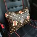 Cool LV Flower Genuine Leather Car Waist Pillows Support Back Cushion 2pcs - Coffee