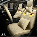 Cool Leather Fendi Owl Car Seat Covers Universal Pads Automobile Seat Cushions 11pcs - Beige