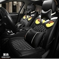 Cool Leather Fendi Owl Car Seat Covers Universal Pads Automobile Seat Cushions 11pcs - Black
