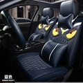 Cool Leather Fendi Owl Car Seat Covers Universal Pads Automobile Seat Cushions 11pcs - Blue