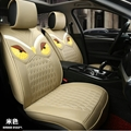 Cool Leather Fendi Owl Car Seat Covers Universal Pads Automobile Seat Cushions 6pcs - Beige