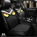 Cool Leather Fendi Owl Car Seat Covers Universal Pads Automobile Seat Cushions 6pcs - Black