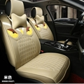 Cool Leather Fendi Owl Car Seat Covers Universal Pads Automobile Seat Cushions 8pcs - Beige