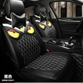 Cool Leather Fendi Owl Car Seat Covers Universal Pads Automobile Seat Cushions 8pcs - Black