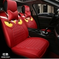 Cool Leather Fendi Owl Car Seat Covers Universal Pads Automobile Seat Cushions 8pcs - Red