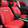 Cool Leather Supreme Print Car Seat Covers Universal Pads Automobile Seat Cushions 6pcs - Red