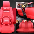 Cool Leather Supreme Print Car Seat Covers Universal Pads Automobile Seat Cushions Pillows 11pcs - Red