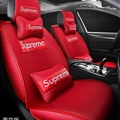 Cool Polyester Fashion Supreme Car Seat Covers Universal Pads Automobile Seat Cushions 10pcs - Red