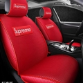 Cool Polyester Fashion Supreme Car Seat Covers Universal Pads Automobile Seat Cushions 6pcs - Red