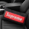 Cool Supreme 1pcs Plush Car Waist Pillows Support Back Cushion - Black Red