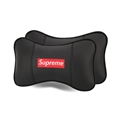 Cool Supreme 2pcs Genuine Leather Car Neck Pillows Support Headrest - Black