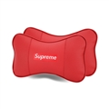 Cool Supreme 2pcs Genuine Leather Car Neck Pillows Support Headrest - Red