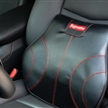 Cool Supreme Genuine Leather Car Waist Pillows Support Back Cushion - Black