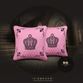 Crown Leather Car Hold Pillow Woman Universal Beautiful Cushions 2pcs - Pink