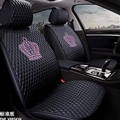 Crown Leather Car Seat Covers Beautiful Universal Auto Cushion 1PC Back Cover 2pcs Front Cover - Black Pink