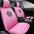 Crown Leather Car Seat Covers Beautiful Universal Auto Cushion 1PC Back Cover 2pcs Front Cover - Pink