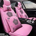 Crown Leather Car Seat Covers Beautiful Universal Auto Seat Cushion 10pcs Sets - Pink