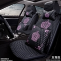 Crown Leather Car Seat Covers Diamonds Universal Auto Seat Cushion 11pcs Sets - Black Pink